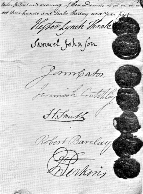 Anchor Brewery deed of sale 1781
