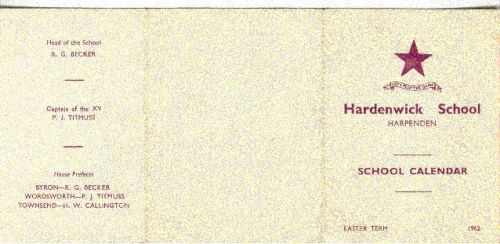 Hardenwick school, Sandridge, calendar 1962