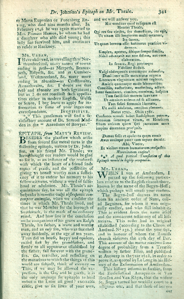 Henry Thrale epitaph, Gentleman's Magazine May 1784