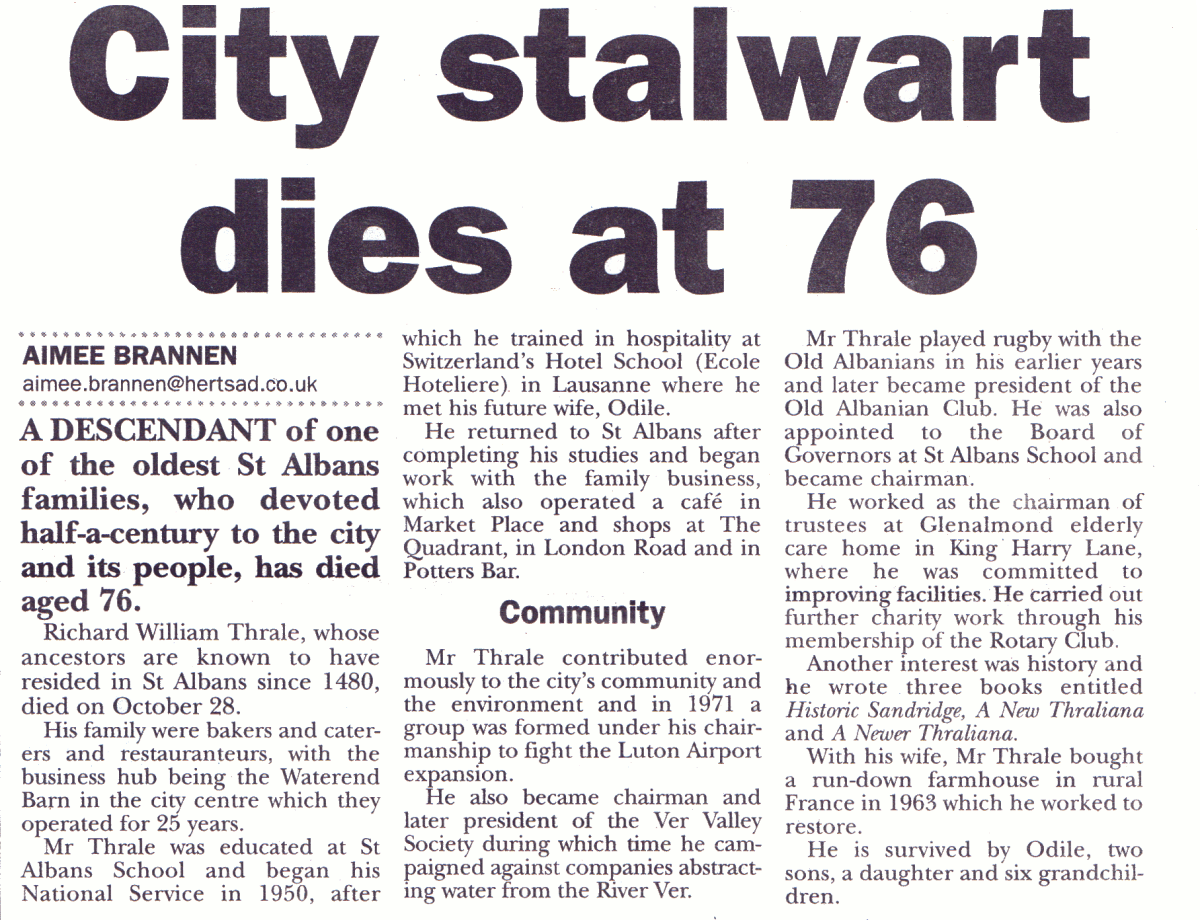 Richard William Thrale's obituary