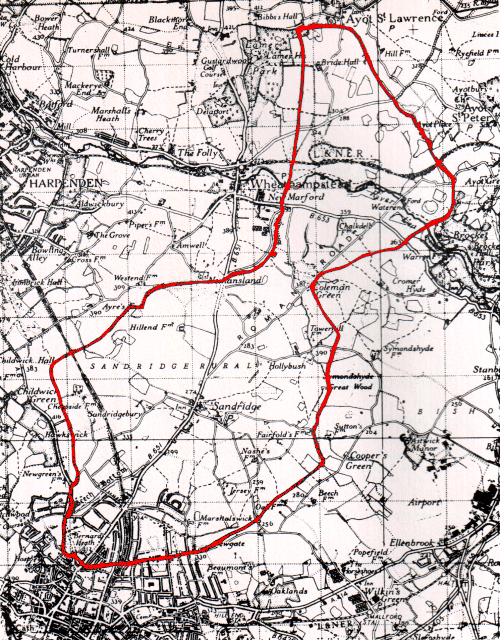 Sandridge parish boundary map