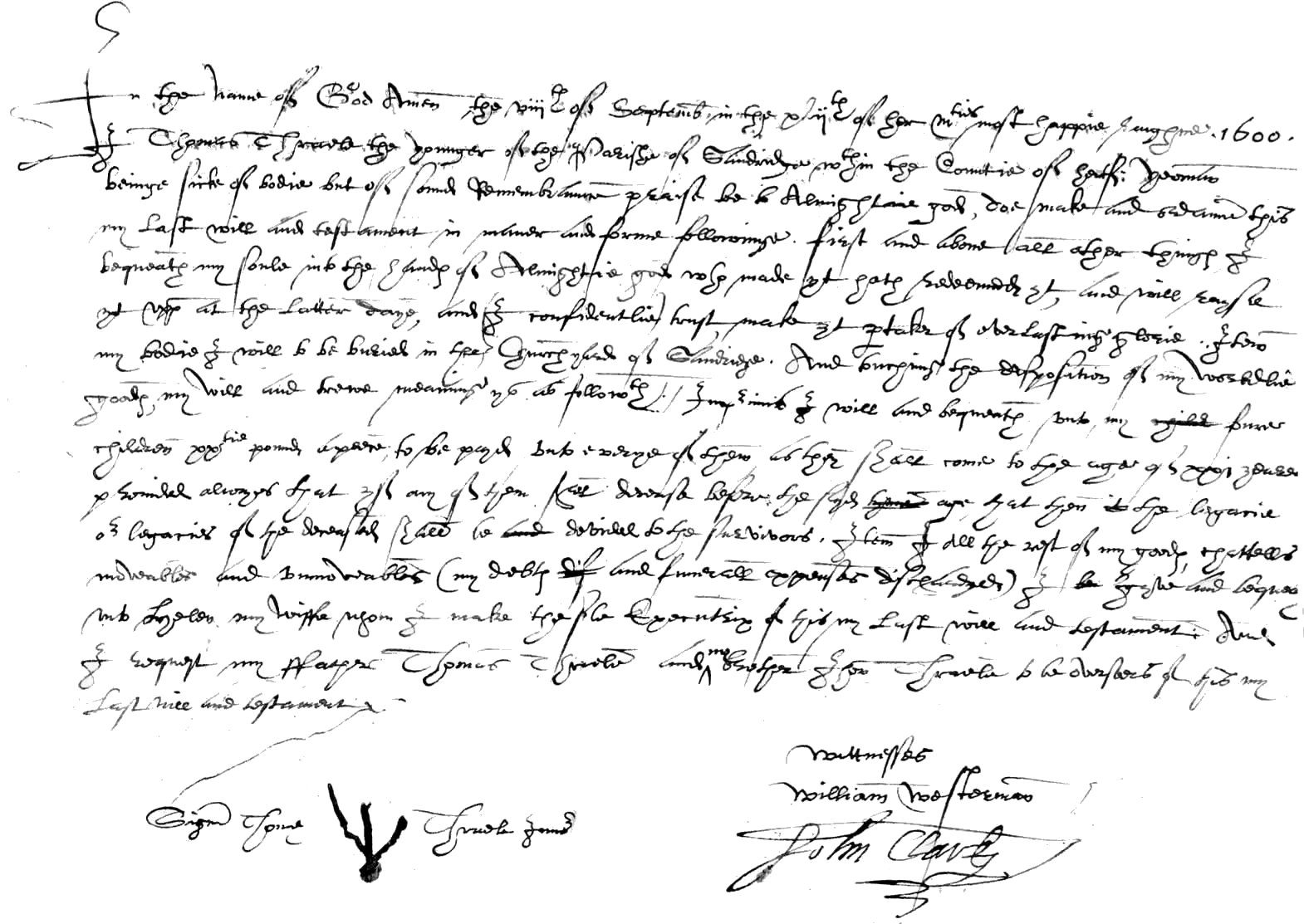 Will of Thomas Thrale - 8 September 1600