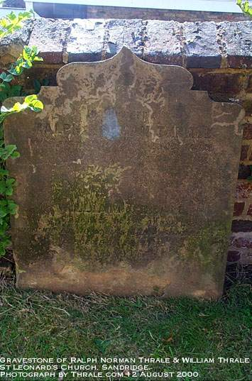 Headstone of Ralph Norman Thrale 1876 and William Thrale 1883