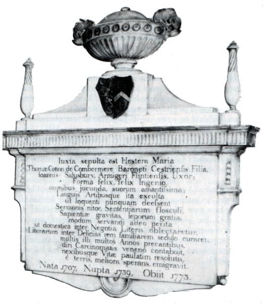 Hester Maria Cotton mourning tablet