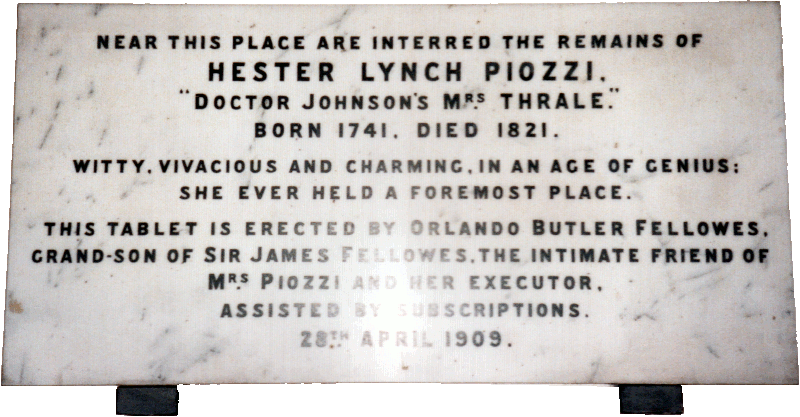 Hester Lynch Piozzi mourning tablet