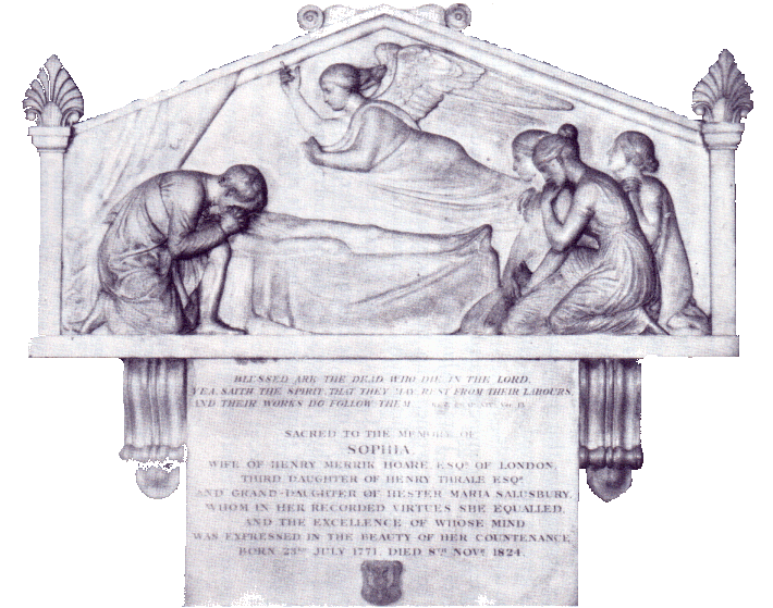 Sophia Thrale's mourning tablet By John Flaxman at St Leonards Church, Streatham.