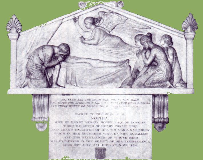 Sophia Thrale's mourning tablet By John Flaxman at St Leonards Church, Streatham.