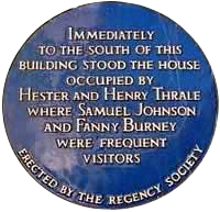 Brighton blue plaque to Henry & Hester Thrale