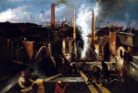 Anchor brewery fire in 1832 by William Clarkson Stanfield
