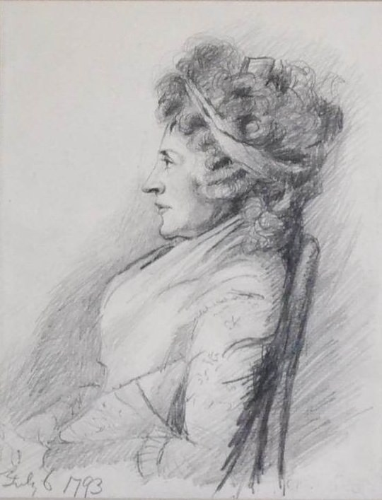 Hester Thrale sketch in 1793 by George Dance