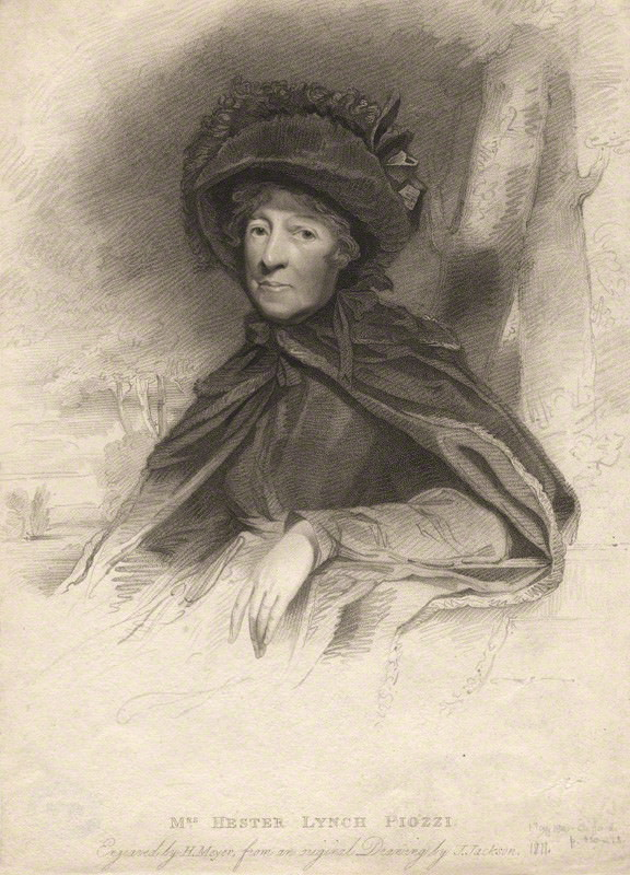 Hester Lynch Thrale portrait by Henry Meyer in 1810