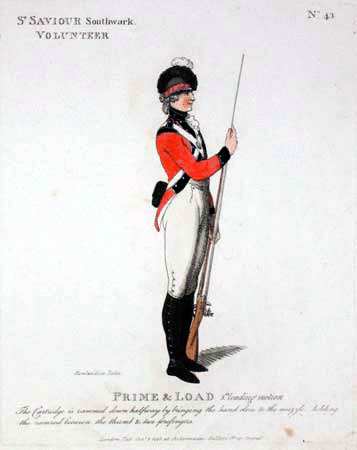 St. Saviour's volunteers uniform drawing by Rowlandson