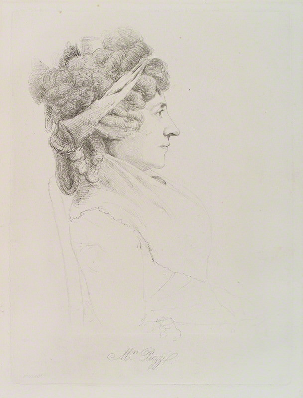 Hester Thrale sketch in 1793 by William Daniell after George Dance