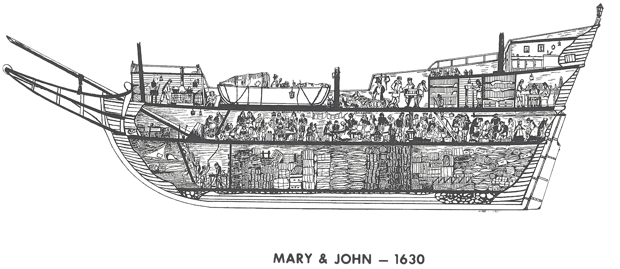 Mary and John ship line drawing