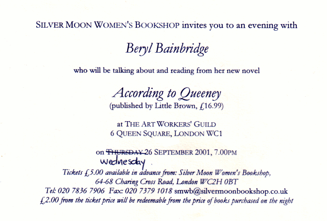 Beryl Bainbridge book signing invitation