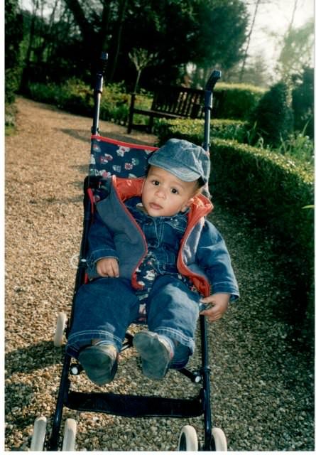 Ethan in his favourite push chair at the castle