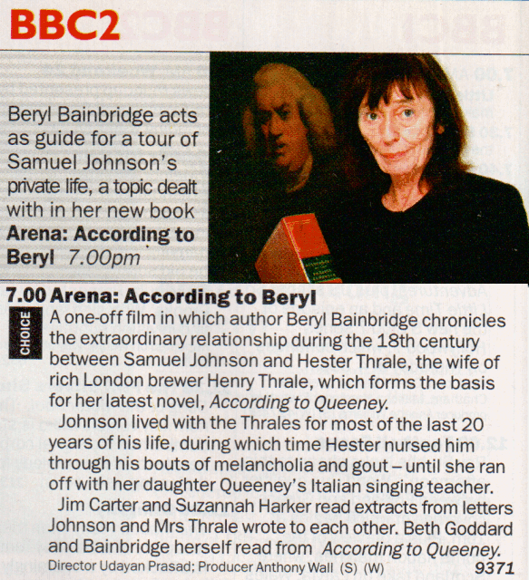 According to Beryl - Radio Time listing. 6 October 2001